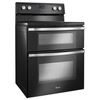 Whirlpool 30-in Smooth Surface 5-Element 4.2-cu ft / 2.5-cu ft  Self-Cleaning with Steam Double Oven Single-Fan Electric Range (Black Ice)