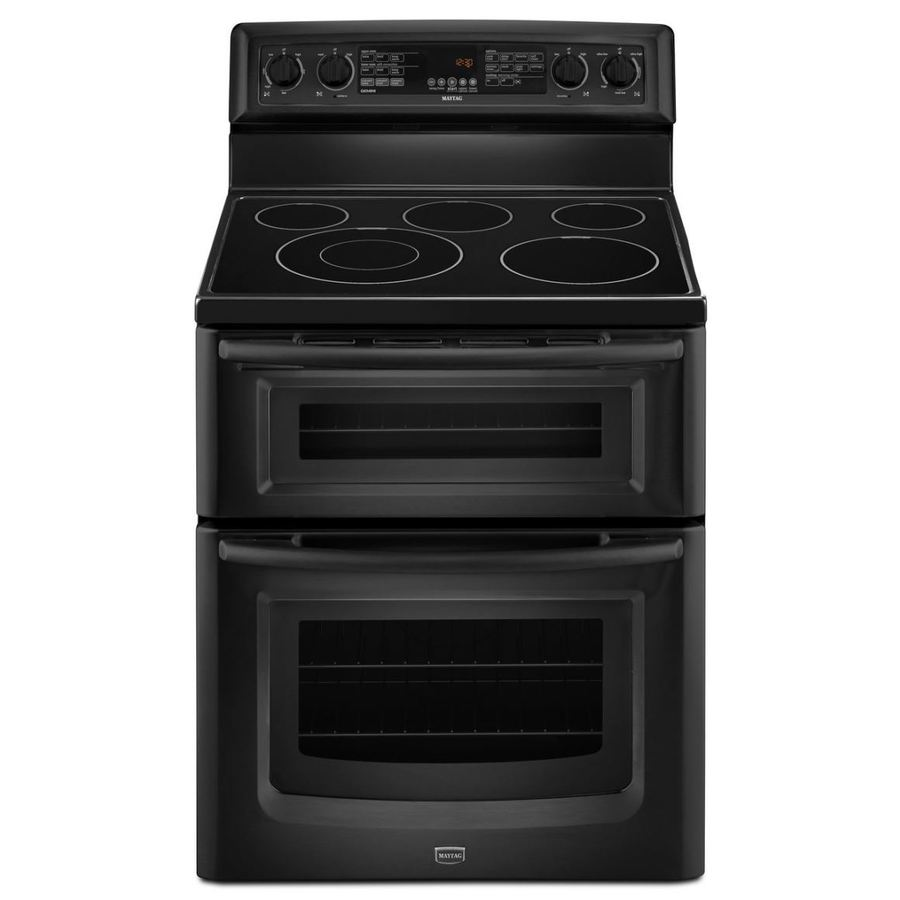 Shop maytag gemini 30 in smooth surface 5 element 4 2 cu ft 2 5 cu ft self cleaning double oven - Maytag electric double oven range ...