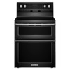 KitchenAid 30-in Smooth Surface 5-Element 4.2-cu ft / 2.5-cu ft Self-Cleaning Double Oven Single-Fan Electric Range (Black)