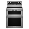 KitchenAid 30-in Smooth Surface 5-Element 4.2-cu ft / 2.5-cu ft Self-Cleaning Double Oven Single-Fan Electric Range (Stainless Steel)