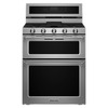 KitchenAid 30-in 5-Burner 3.9-cu ft/2.1-cu ft Self-Cleaning Double Oven Convection Gas Range (Stainless Steel)