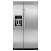 KitchenAid 19.9-cu ft Counter-Depth Side-by-Side Refrigerator with Single Ice Maker (Stainless Steel)