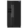 Maytag 24.6-cu ft Side-by-Side Refrigerator with Single Ice Maker (Black)