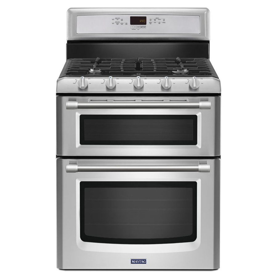shop maytag gemini 30 in 5 burner 3 9 cu ft 2 1 cu ft self cleaning oven gas range