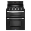Maytag Gemini 30-in 5-Burner 3.9-cu ft/2.1-cu ft Self-Cleaning Double Oven Gas Range (Black)