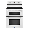 Maytag Gemini 30-in Smooth Surface 5-Element 4.2-cu ft / 2.5-cu ft Self-Cleaning Double Oven Single-Fan Electric Range (White)