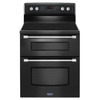 Maytag Gemini 30-in Smooth Surface 5-Element 4.2-cu ft / 2.5-cu ft Self-Cleaning Double Oven Single-Fan Electric Range (Black)