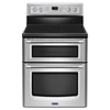 Maytag Gemini 30-in Smooth Surface 5-Element 4.2-cu ft / 2.5-cu ft Self-Cleaning Double Oven Single-Fan Electric Range (Stainless Steel)