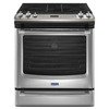 Maytag 5-Burner 5.8-cu ft Slide-In Convection Gas Range (Stainless Steel) (Common: 30-in; Actual 29.875-in)