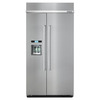 KitchenAid 25.02-cu ft Counter-Depth Built-In Side-by-Side Refrigerator with Single Ice Maker (Stainless Steel) ENERGY STAR