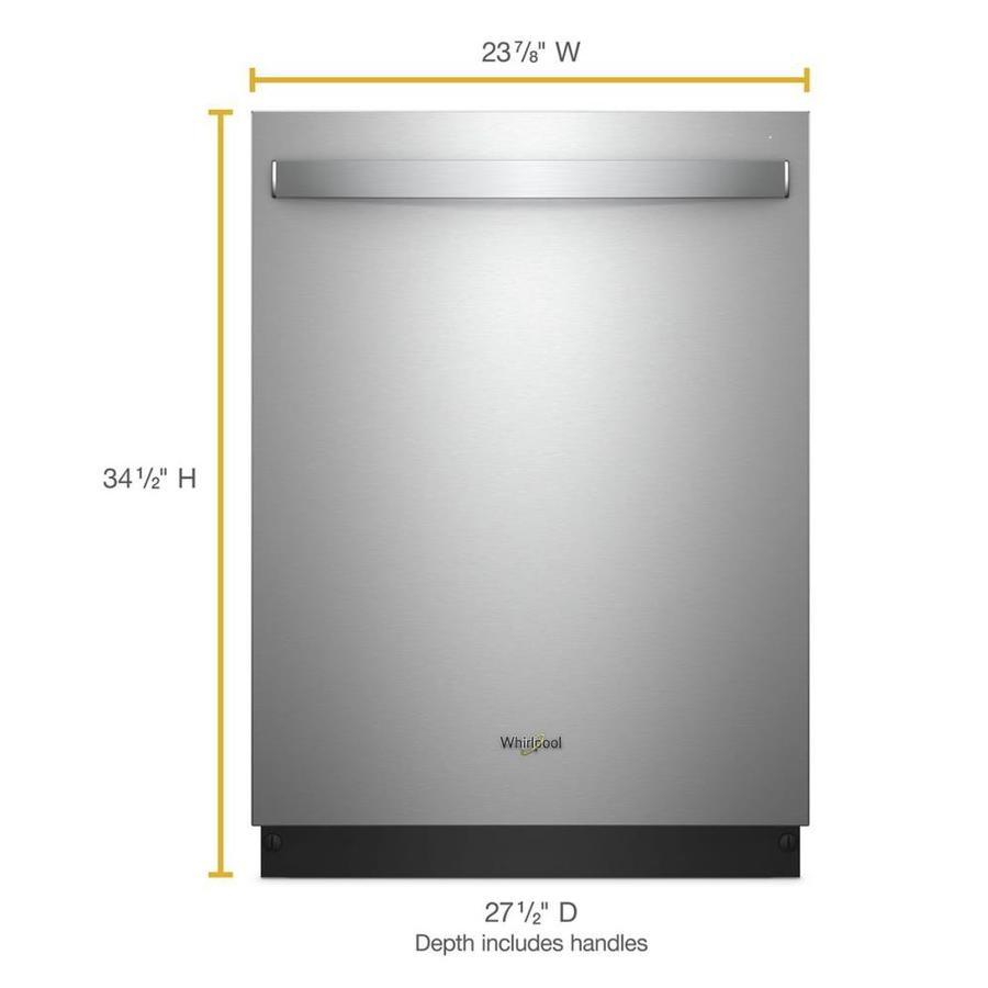 Whirlpool 51 Decibel Top Controls 24 In Built In Dishwasher With Fan Dry Fingerprint Resistant Stainless Steel In The Built In Dishwashers Department At Lowes Com