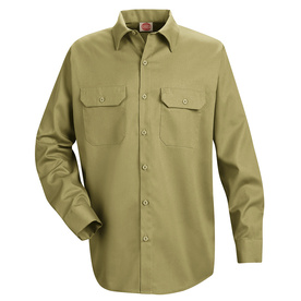 Red Kap Men's XXL-Long Khaki Twill Polyester Blend Long Sleeve Uniform Work Shirt ST52KH LN XXL
