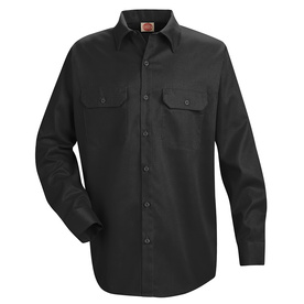 Red Kap Men's XXL-Long Black Twill Polyester Blend Long Sleeve Uniform Work Shirt ST52BK LN XXL