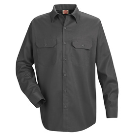 Red Kap Men's Large Charcoal Twill Polyester Blend Long Sleeve Uniform Work Shirt ST52CH RG L