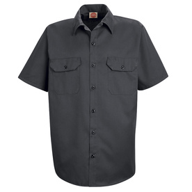 Red Kap Men's Large Charcoal Twill Polyester Blend Short Sleeve Uniform Work Shirt ST62CH SS L