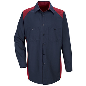 Red Kap Men's XXL-Long Red Poplin Polyester Blend Long Sleeve Uniform Work Shirt SP18RN LN XXL