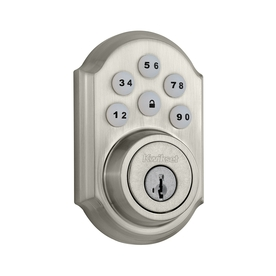 Kwikset SmartCode SmartKey Satin Nickel Single-Cylinder Motorized Electronic Entry Door Deadbolt with Keypad