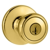 Kwikset Tylo SmartKey Polished Brass Tulip Keyed Entry Door Knob