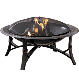 Garden Treasures 35-in W Black/High Temperature Painted Steel Wood-Burning Fire Pit