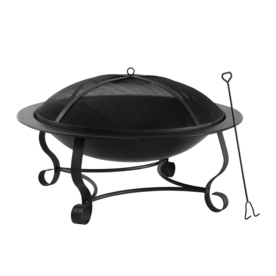 Garden Treasures 39-in Blacking Steel Wood-Burning Fire Pit