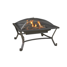 Garden Treasures 33.6-in W Black/High Temperature Painted Steel Wood-Burning Fire Pit