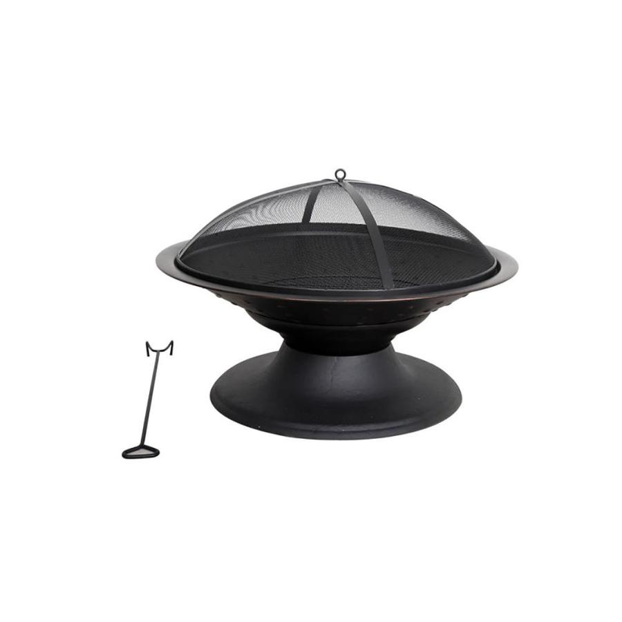 Shop Garden Treasures 29 5 In W Black High Temperature Painted Steel Wood Burning Firepit At