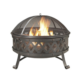 Garden Treasures 35.4-in W Black/High Temperature Paint with Golden Red Brushes Steel Wood-Burning Firepit