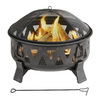Garden Treasures 29.92-in W Antique Black Steel Wood-Burning Fire Pit