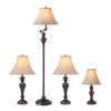Portfolio 4-Piece Bronze Faux Marble Lamp Set with Tan Fabric Shades