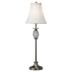 Portfolio 28.5-in Brushed Nickel Indoor Table Lamp with Fabric Shade