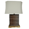Absolute Decor 27-in 3-Way Bronze and Chrome Indoor Table Lamp with Fabric Shade