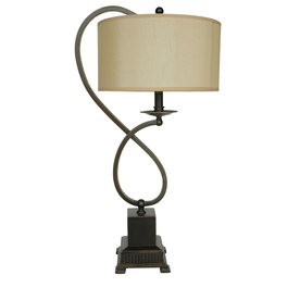 Absolute Decor 27-in 3-Way Bronze Indoor Table Lamp with Fabric Shade