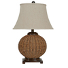 Absolute Decor 29-1/2-in 3-Way Wicker Table Lamp with Beige Linen Shade