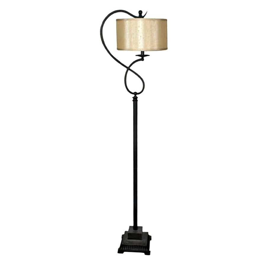 rubbed bronze finish indoor floor lamp with fabric shade at. Black Bedroom Furniture Sets. Home Design Ideas