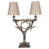 Absolute Decor 29-in Beige Antler Indoor Table Lamp with Fabric Shade