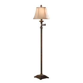 Absolute Decor 61.5-in Brushed Umber Indoor Floor Lamp with Fabric Shade