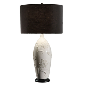 Absolute Decor 29-in 3-Way White Gloss Indoor Table Lamp with Fabric Shade