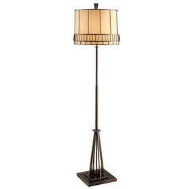 Absolute Decor 64-in Satin Black with Gold Accents Indoor Floor Lamp with Metal Shade