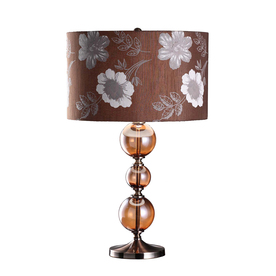 Absolute Decor 24.25-in 3-Way Amber Glass and Bronze Indoor Table Lamp with Fabric Shade
