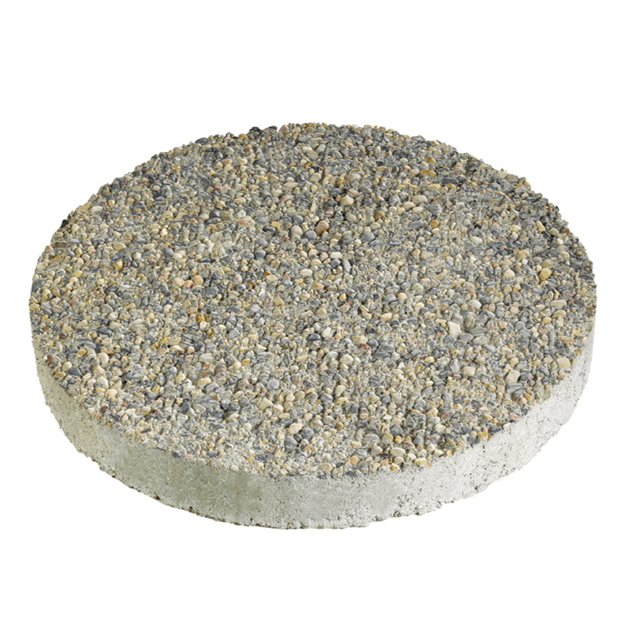 block 12 in gray round exposed aggregate stepping stone at