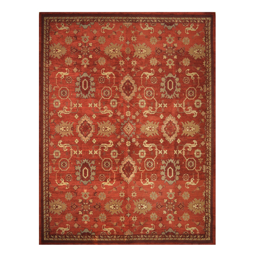 Red & Golden Oriental Allen Roth Persian Area Rug at Lowes