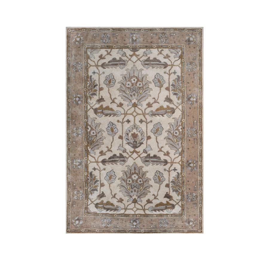 shop allen roth southminster rectangular floral hooked wool area rug common 9 ft