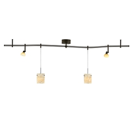 tiella 4-Light Bronze Decorative Flexible Track Light with Latte Glass