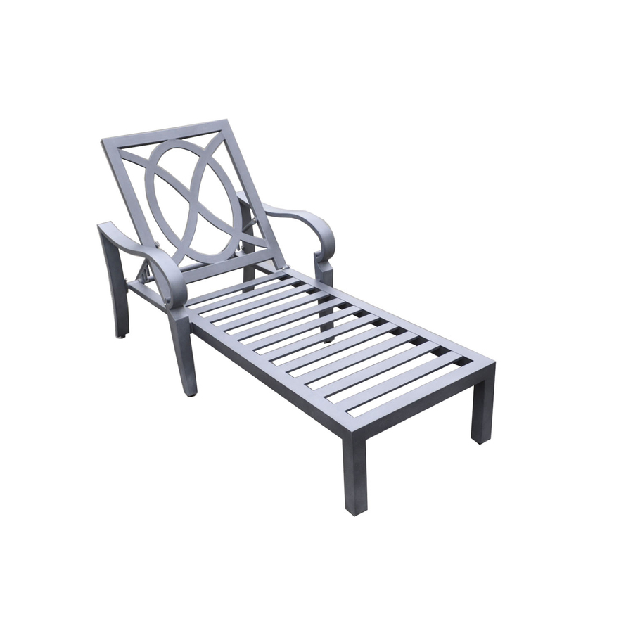 Shop allen roth newstead slat seat aluminum patio chaise for Allen roth steel patio chaise lounge