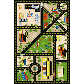 Concord Global City Center Multicolor Rectangular Indoor Tufted Kids Area Rug (Common: 4 x 6; Actual: 53-in W x 73-in L x 4.42-ft Dia)