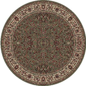 Concord Global Dynasty Round Green Floral Woven Area Rug (Common: 5-ft x 5-ft; Actual: 5.25-ft x 5.25-ft)