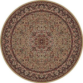 Concord Global Dynasty Round Cream Floral Woven Area Rug (Common: 5-ft x 5-ft; Actual: 5.25-ft x 5.25-ft)