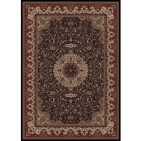 Concord Global Dynasty Rectangular Black Floral Woven Area Rug (Common: 7-ft x 10-ft; Actual: 6.58-ft x 9.5-ft)