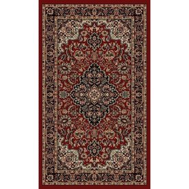 Style Selections Daltorio Red Rectangular Indoor Woven Oriental Throw Rug (Common: 2 x 3; Actual: 23-in W x 39-in L x 1.92-ft Dia)