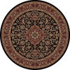 Concord Global Dynasty 63-in x 63-in Round Black Floral Area Rug